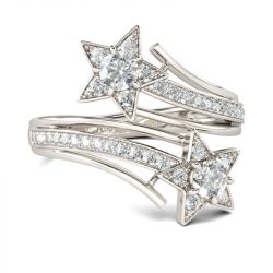 Jeulia Bypass Star Design Round Cut Sterling Silver Ring