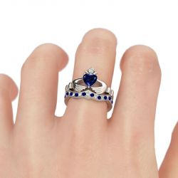 Jeulia Crown Heart Cut Claddagh Ring Set