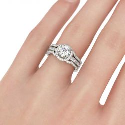 Jeulia Halo Round Cut Interchangeable Sterling Silver Ring Set