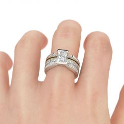 Jeulia Interchangeable Radiant Cut Sterling Silver Ring Set