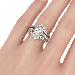 Jeulia Interchangeable Halo Round Cut Sterling Silver Ring Set