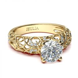Jeulia Gold Tone Vines Round Cut Sterling Silver Ring