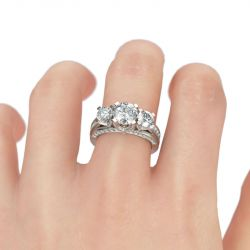 Jeulia Three Side Pave Three Stone Round Cut Sterling Silver Ring