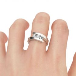 Jeulia Tension Three Stone Round Cut Sterling Silver Ring