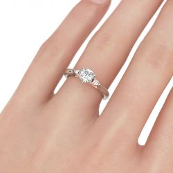 Jeulia Two Tone Bowknot Round Cut Sterling Silver Ring