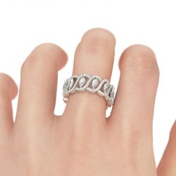 Jeulia Hollow Marquise Cut Sterling Silver Women's Band