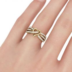 Jeulia Gold Tone Heart Design Round Cut Sterling Silver Women's Band