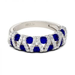 Jeulia Hollow Round Cut Sterling Silver Women's Band