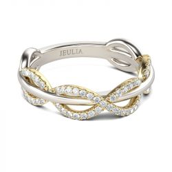 Jeulia Two Tone Interwoven Sterling Silver Women's Band
