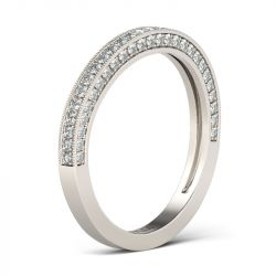 Jeulia Curved Round Cut Sterling Silver Women's Wedding Band