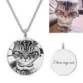 Jeulia Personalized Cat Pet Photo Engraved Necklace Sterling Silver