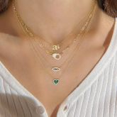 """Jeulia """"We Found Love"""" Sterling Silver Layered Necklace"""