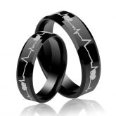 Jeulia Black Heartbeat Style Tungsten Steel Couple Rings