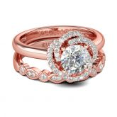 Jeulia Rose Gold Round Cut Sterling Silver Ring Set