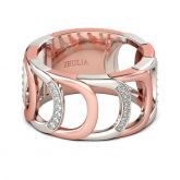 Jeulia Two Tone Hollow Round Cut Sterling Silver Women's Band