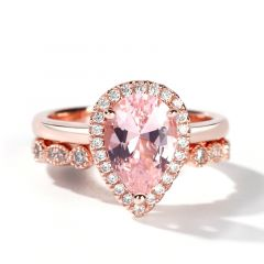 Jeulia Halo Milgrain Pear Cut Synthetic Morganite Sterling Silver Ring Set
