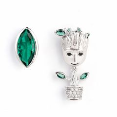 "Jeulia ""I am Groot"" Tree Man Asymmetric Sterling Silver Earrings"