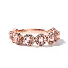 Jeulia Halo Round Cut Synthetic Morganite Sterling Silver Women's Band