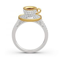 """Jeulia """"Romantic Afternoon"""" Coffee Cup Sterling Silver Ring"""