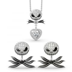 "Jeulia ""Bat Bow Tie"" Skull Heart Cut Sterling Silver Jewelry Set"