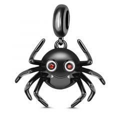 """""""What Do You Think Of Me"""" Cute Spider 925 Sterling Silver Charm Pendant Black Plated"""