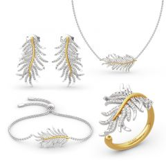 """Jeulia """"Feathers Appear When Angels Are Near"""" Sterling Silver Jewelry Set"""