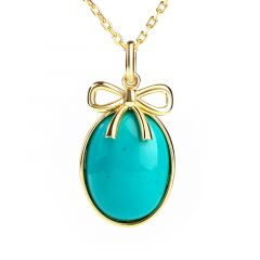 Jeulia Bow-knot Design Turquoise Pendant Sterling Silver Necklace