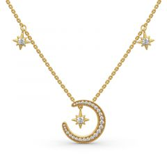 "Jeulia ""Moon and Star"" Round Cut Sterling Silver Necklace"