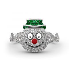 "Jeulia ""Merry Christmas"" Snowman Design Sterling Silver Ring"