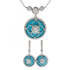 """Jeulia """"Lucky Choice"""" Flower Turquoise Sterling Sliver Jewelry Set"""
