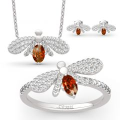 "Jeulia ""Natural Wonder"" Firefly Design Oval Cut Sterling Silver Jewelry Set"