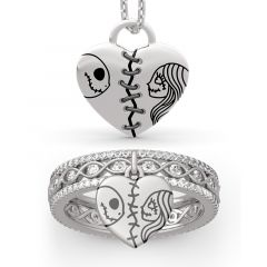 "Jeulia ""Magic of Love"" Skull Couple Sterling Silver Jewelry Set"