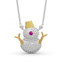 "Jeulia ""Romantic Snowman"" Sterling Silver Necklace"