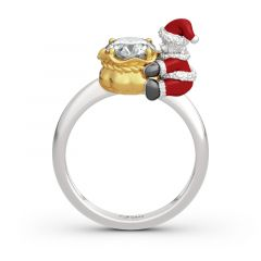 """Jeulia Hug Me """"Christmas Baby"""" Candy Bag Round Cut Sterling Silver Ring"""