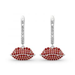 "Jeulia ""Enthusiasm"" Red Lips Sterling Silver Earrings"
