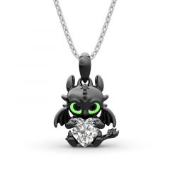 """Jeulia Hug Me """"Show Your Heart"""" Dragon Heart Cut Sterling Silver Necklace"""