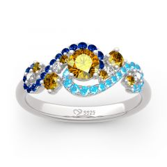 """Jeulia """"Dreamy Secret"""" The Starry Night Inspired Sterling Silver Ring"""