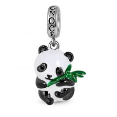 Panda Hugging Bamboo Pendant Dangle Charm Sterling Silver