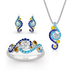 "Jeulia ""The Starry Night"" Round Cut Sterling Silver Jewelry Set"