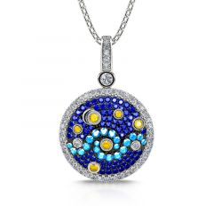 """Jeulia """"Pure Night"""" The Starry Night Inspired Sterling Silver Necklace"""