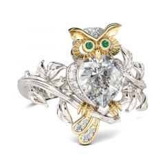Jeulia Two Tone Pear Cut Sterling Silver Owl Ring