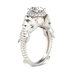 Jeulia Halo Round Cut Sterling Silver Elephant Ring