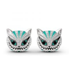 """Jeulia """"Grinning Like a Cheshire Cat"""" Sterling Silver Enamel Earrings"""