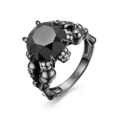 Jeulia Black Round Cut Sterling Silver Skull Ring