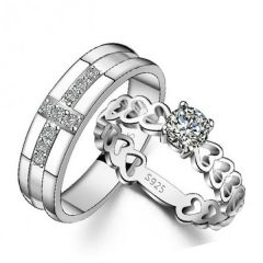 Jeulia Exquisite Round Cut Sterling Silver Couple Rings