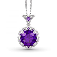 Jeulia Amethyst Flower Round Cut Sterling Silver Necklace