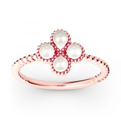 Jeulia Clover Cultured Pearl Sterling Silver Ring