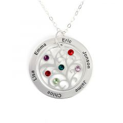 Jeulia Family Tree Necklace with Birthstones Sterling Silver