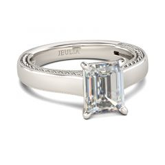 Jeulia Milgrain Emerald Cut Sterling Silver Ring