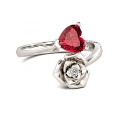 Jeulia Flower Design Heart Cut Sterling Silver Ring